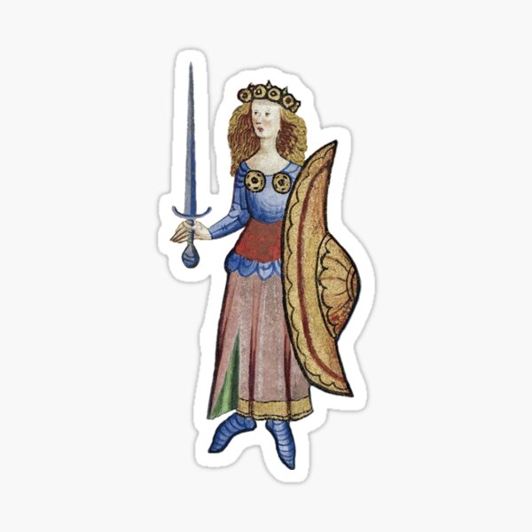 Medieval Warrior Woman with Sword and Shield  Sticker