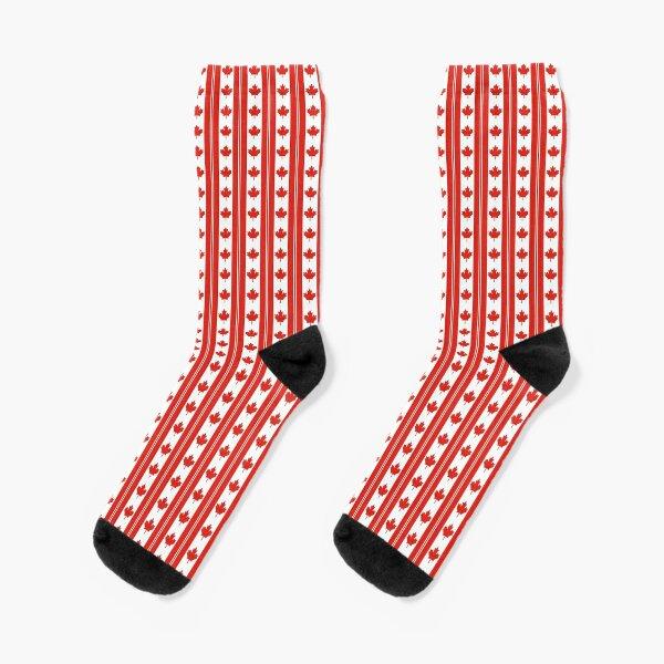 Red and White Canadian Maple Leaf Flag Stripe Socks