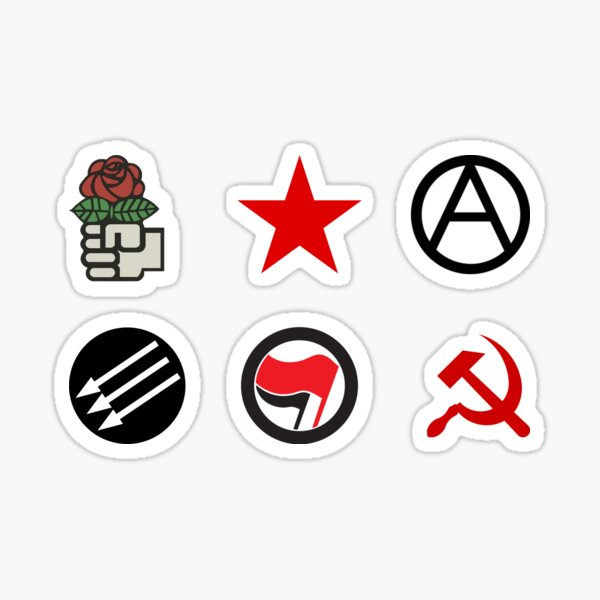 Leftist Symbols Sticker Pack - Socialist Rose, Red Star, Anarchist 'A', Three Arrows, Antifa, Hammer and Sickle Sticker