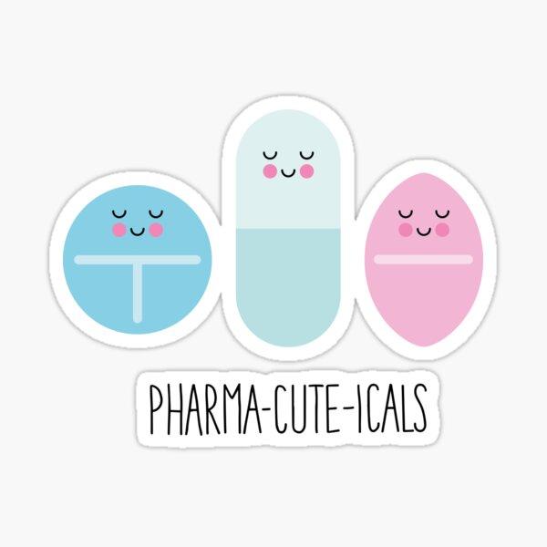 Pharma-cute-icals azul Pegatina