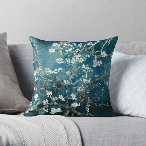 Van Gogh Almond Blossoms Dark Teal Throw Pillow
