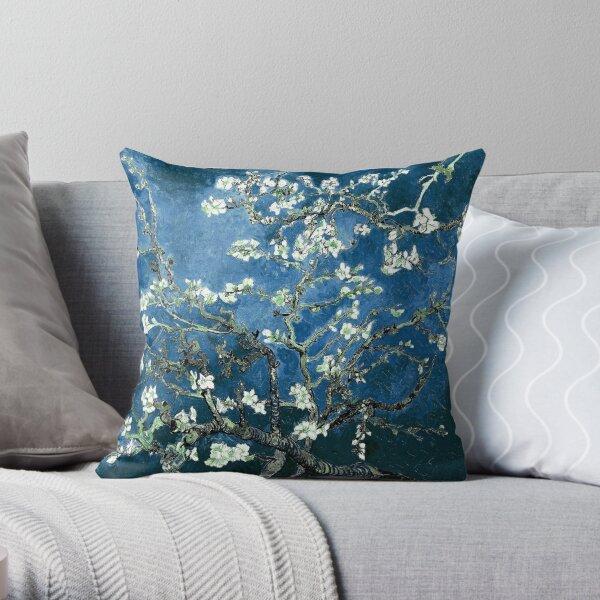 Van Gogh Almond Blossoms Deep Ocean Blue Throw Pillow