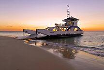 Vehicular Ferry from Inskip Point to Fraser Island. Queensland, Australia. by Ralph de Zilva