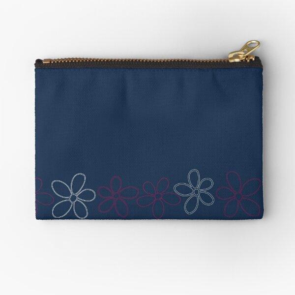 Floret Collection Floral Seamless Border Surface Pattern Zipper Pouch