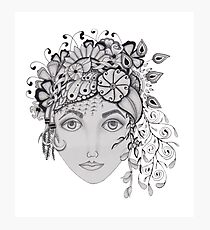 woman with a flower crown Photographic Print