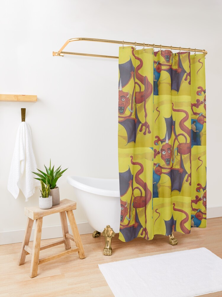 Alternate view of Red Dragon Kite Shower Curtain