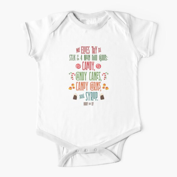 Buddy the Elf - The Four Main Food Groups Short Sleeve Baby One-Piece