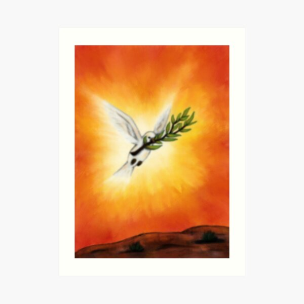 fantasy art flying white peace dove with twig Art Print