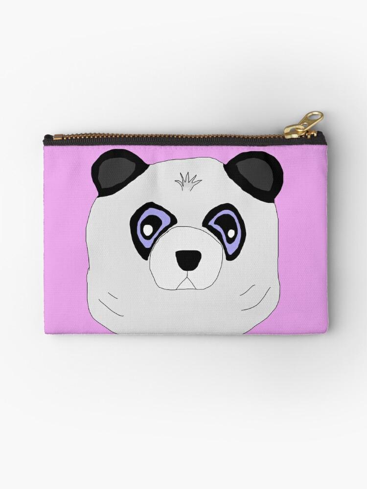 Panda Bears Canvas Zip Pouch Pencil Case Multi Purpose Makeup Bag