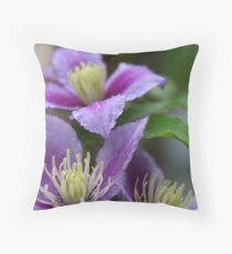 Clematis in Purple Throw Pillow