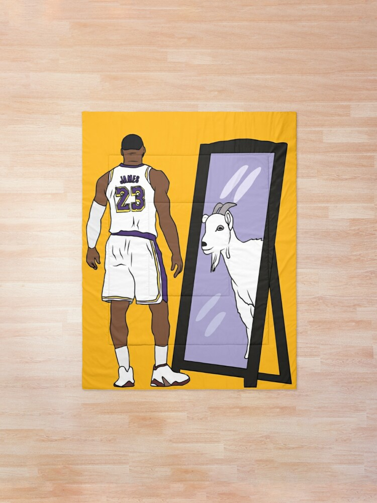 Alternate view of LeBron James Mirror GOAT (Lakers) Comforter