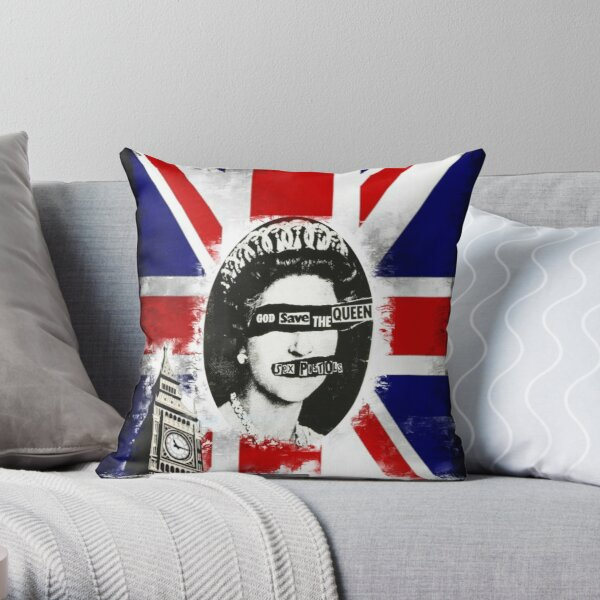 print england, god save the queen Throw Pillow