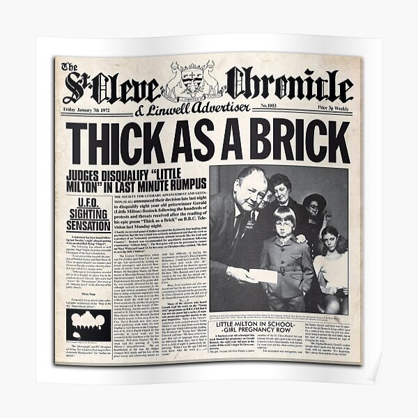 Jethro Tull - Thick as a Brick Newspaper Poster