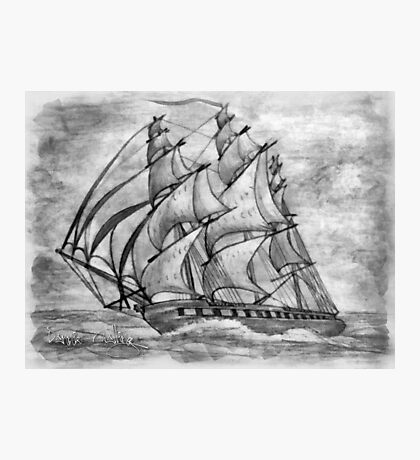 Pencil Drawing (enhanced) of a Clipper Ship based on the Cutty Sark Photographic Print