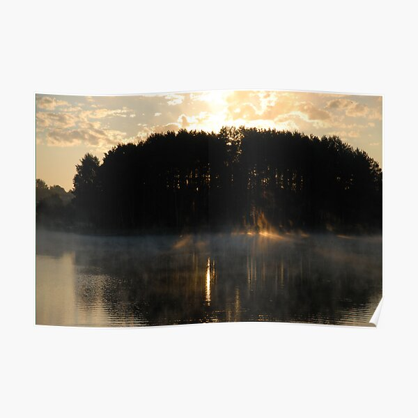 Sun fire, fog and lake Poster