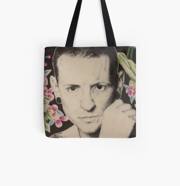 Chester Bennington- Flower Background  All Over Print Tote Bag