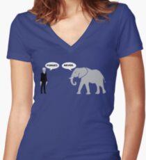 Silence vs. Elephant Women's Fitted V-Neck T-Shirt