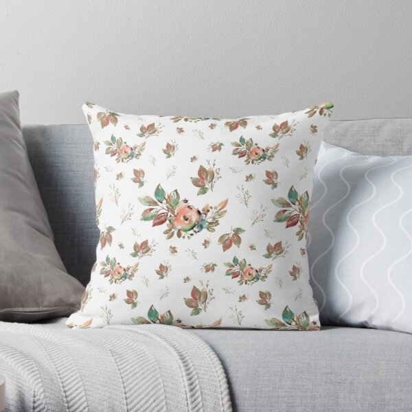 Watercolor Floral Collection AMORE Throw Pillow