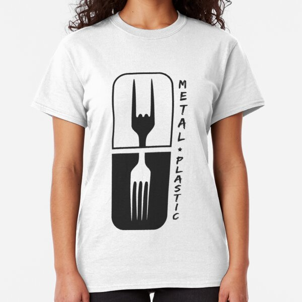 - Sign of the Horns Rock N/' Roll Plastic vs Women Metal Fork T-Shirt