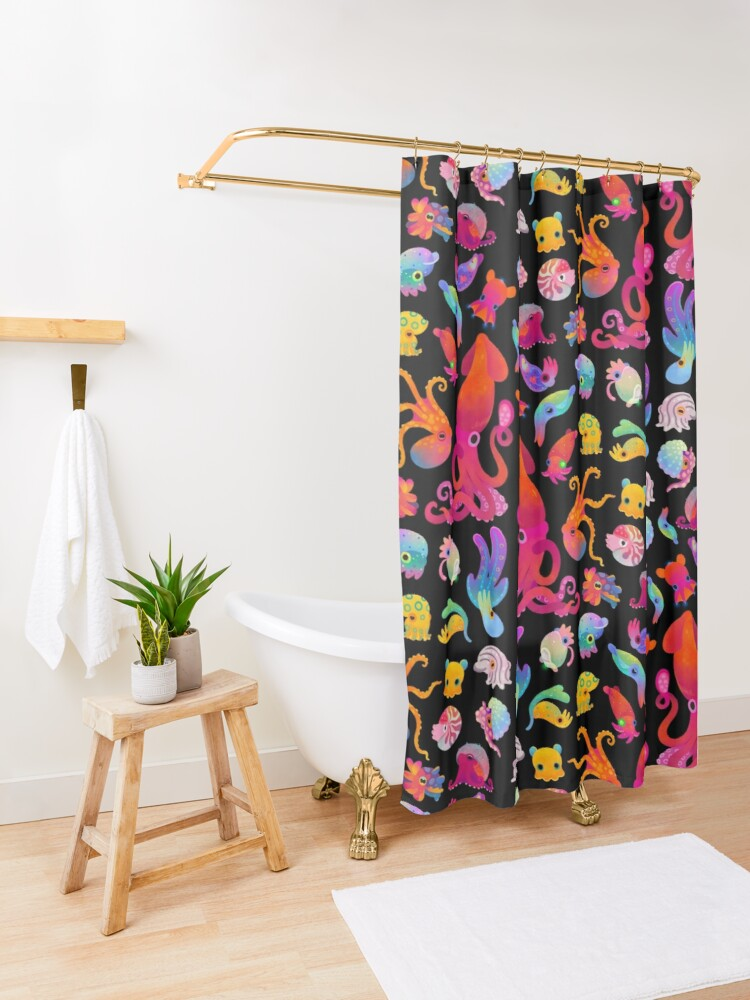 Alternate view of Cephalopod Shower Curtain