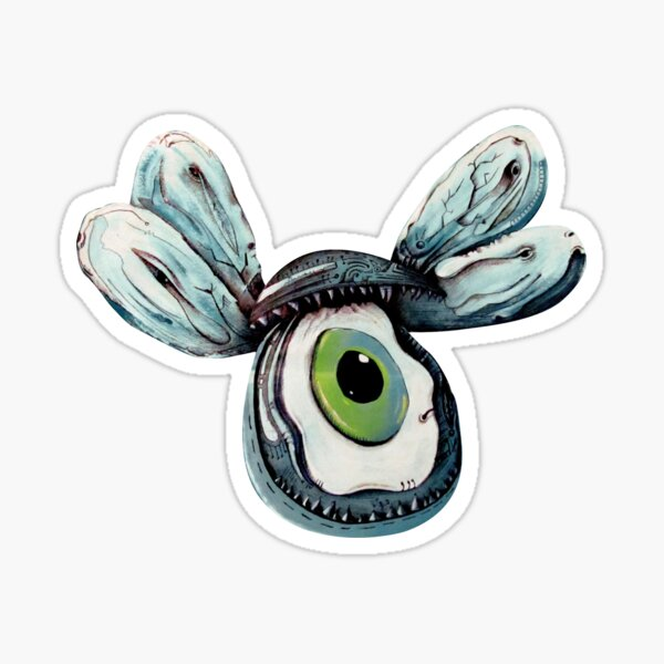 Flying Mussel With Evil Eye Bead Sticker