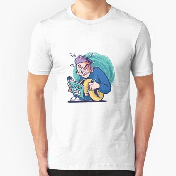 Funny Sudoku guy design illustration for sudoku lovers Slim Fit T-Shirt