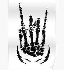 Bone hand skeleton rock sign Poster