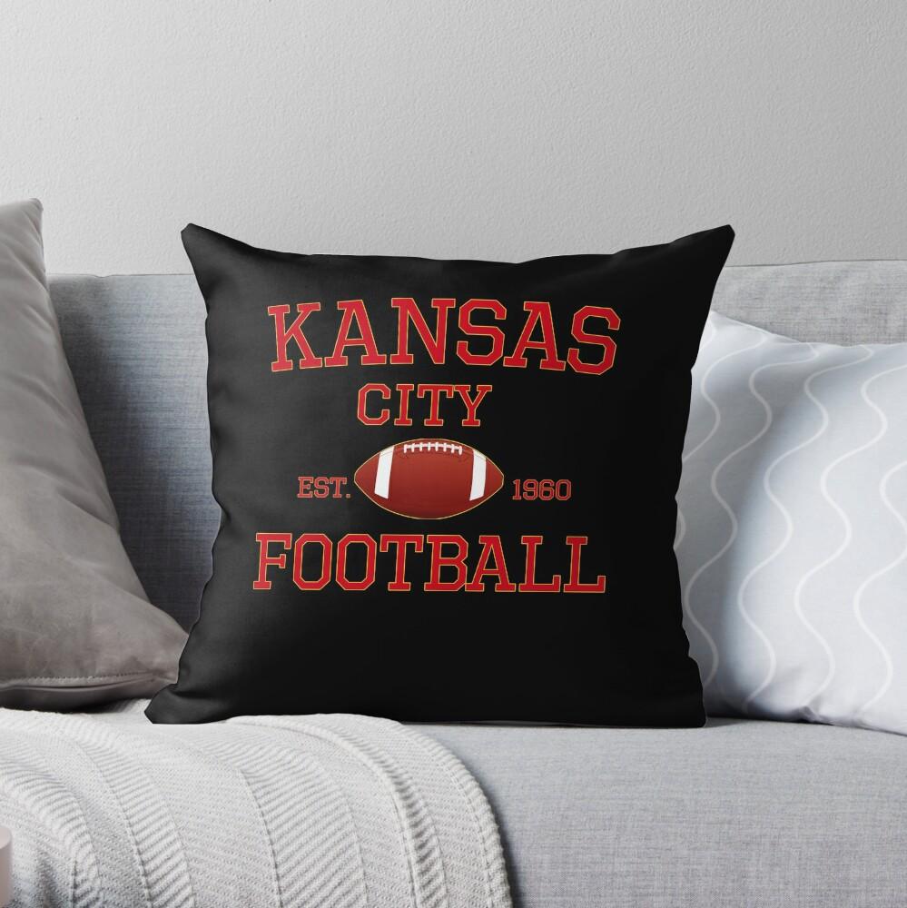 KC Kansas City Originals Vintage Sports Fan Red & Yellow Kc Football Throw Pillow
