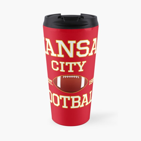 Kansas City Football Fan Red & Yellow Kc Football Travel Mug