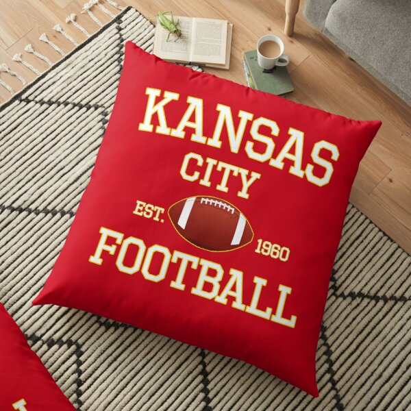 Kansas City Football Fan Red & Yellow Kc Football Floor Pillow