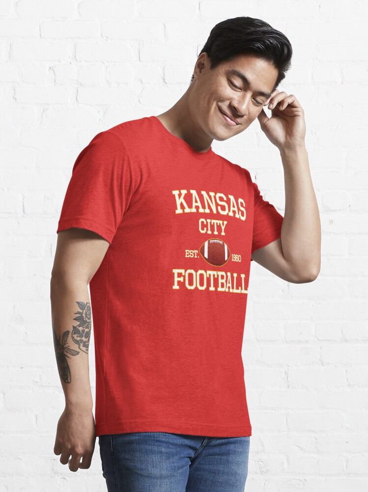 Alternate view of Kansas City Football Fan Red & Yellow Kc Football Essential T-Shirt