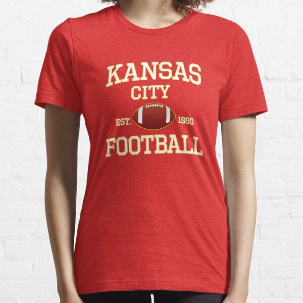 Kansas City Football Fan Red & Yellow Kc Football Essential T-Shirt