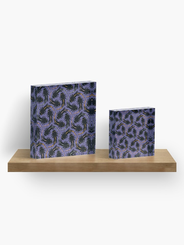 Alternate view of WE LOVE M.C. ESCHER style - Axolotl symmetrical pattern Acrylic Block
