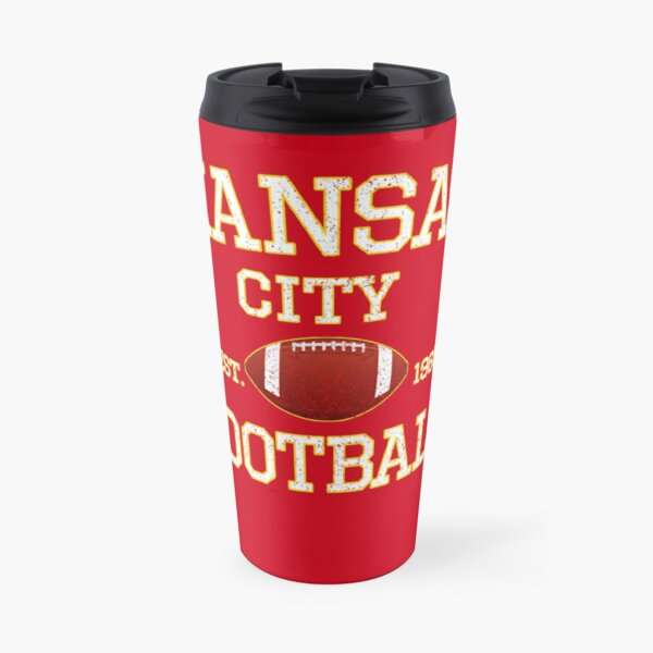 Vintage Classic Kansas City Football Fan Red & Yellow Kc Football Travel Mug