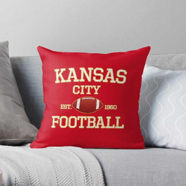 Vintage Classic Kansas City Football Fan Red & Yellow Kc Football Throw Pillow