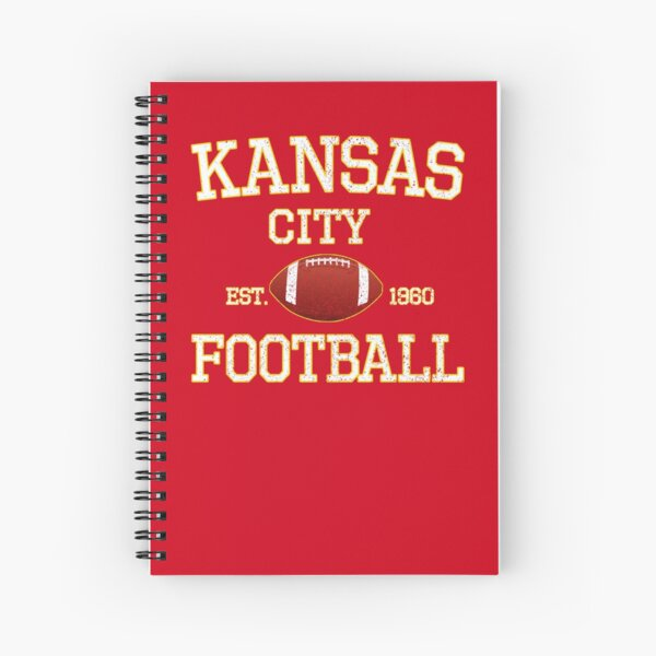 Vintage Classic Kansas City Football Fan Red & Yellow Kc Football Spiral Notebook