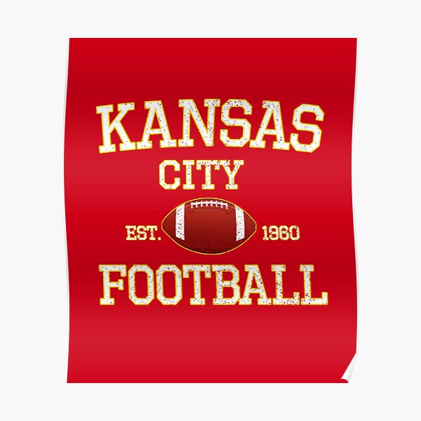 Vintage Classic Kansas City Football Fan Red & Yellow Kc Football Poster