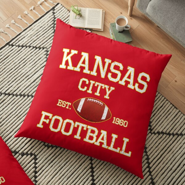 Vintage Classic Kansas City Football Fan Red & Yellow Kc Football Floor Pillow