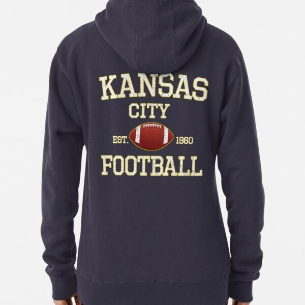 Vintage Classic Kansas City Football Fan Red & Yellow Kc Football Pullover Hoodie
