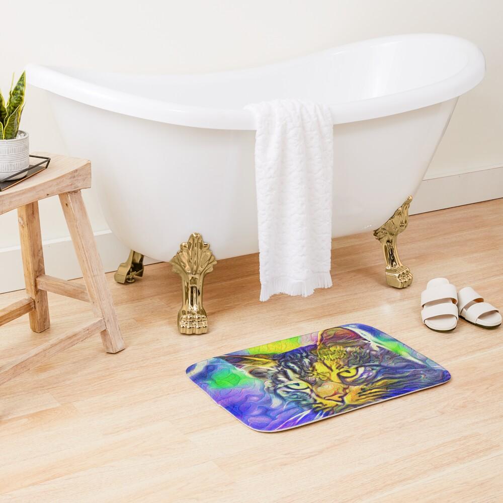 Artificial neural style iris flower cat Bath Mat