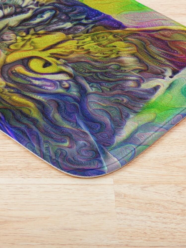 Alternate view of Artificial neural style iris flower cat Bath Mat