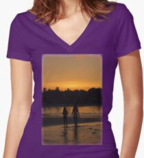 Beach Attractions Women's Fitted V-Neck T-Shirt