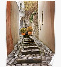 Stairs near the castle in the old town in winter, Bratislava, Slovakia, Eastern Europe, EU Poster