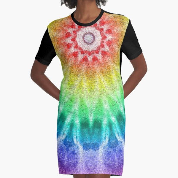 Rainbow Tie Dye 2 Graphic T-Shirt Dress