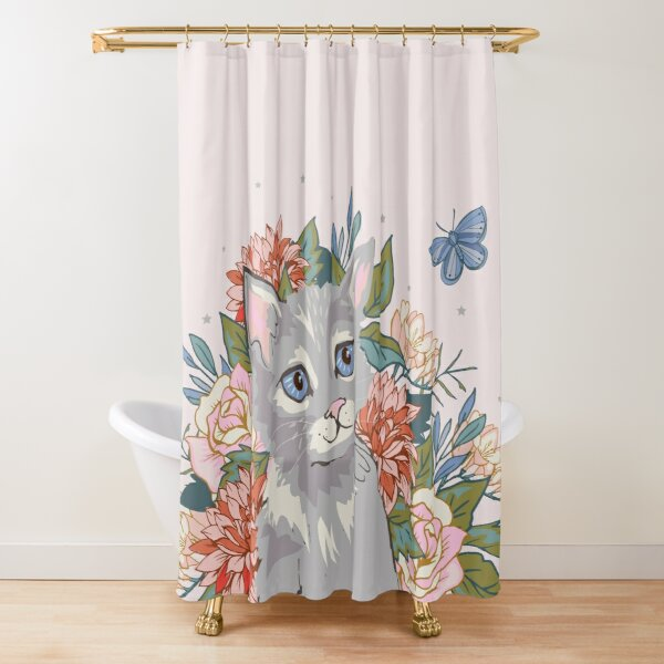 Kitten In Pink Shower Curtain