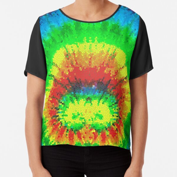 Tie Dye Rainbow Stained Glass Chiffon Top