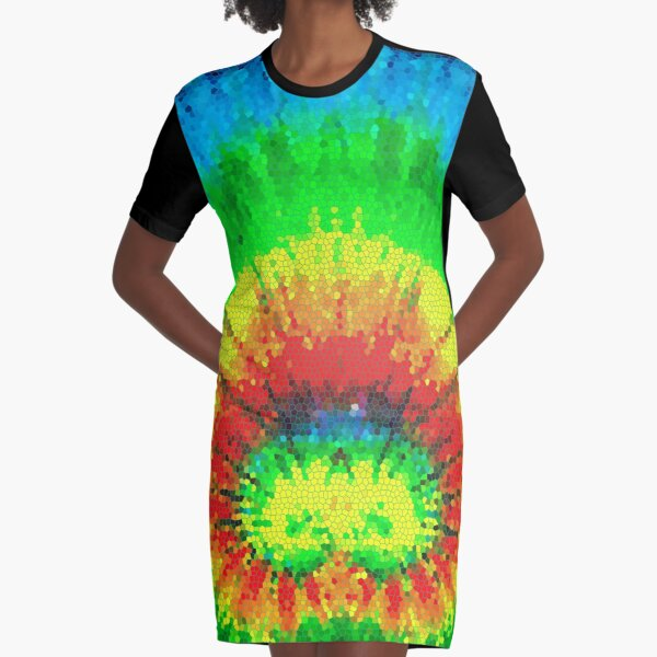 Tie Dye Rainbow Stained Glass Graphic T-Shirt Dress