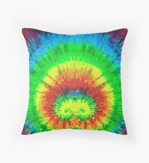 Tie Dye Rainbow Stained Glass Throw Pillow