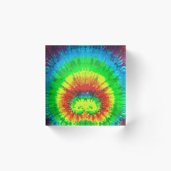 Tie Dye Rainbow Stained Glass Acrylic Block
