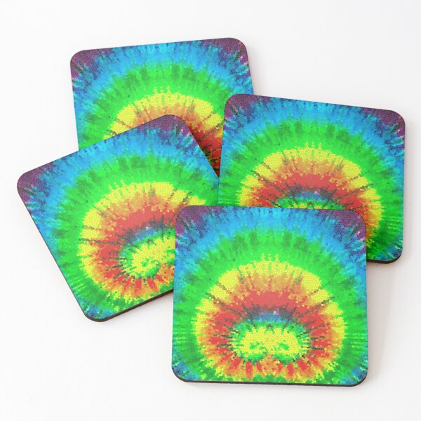 Tie Dye Rainbow Stained Glass Coasters (Set of 4)